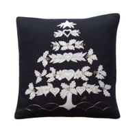 Folklore tree Christmas cushion, black linen, cream wool, hand-embroidered
