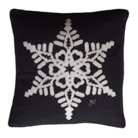 Fretwork snowflake black linen cushion, Christmas collection