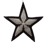 Star Christmas decoration, black and cream wool, hand-embroidered