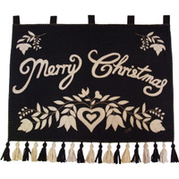 Folklore Merry Christmas wall-hanging, flowers and heart, black and cream wool, hand-embroidered