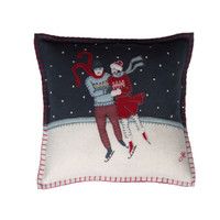 Small skaters cushion, lovers, Christmas collection, wool
