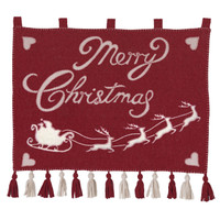 Merry Christmas Santa and His Sleigh Wall-Hanging, red and cream wool