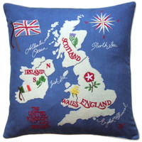 British Isles Map Cushion Cobalt Blue