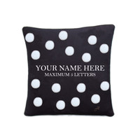 Personalised small spotty cushion, black linen, hand-embroidered
