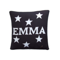 Personalised small cushion, stars, black linen, hand-embroidered