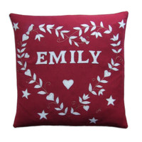 Personalised heart cushion, red linen, hand-embroidered