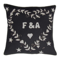 Hand-Embroidered Black Personalised Magic Heart Cushion - a superb red designer cushion we can personalise with the name or the word of your choice! perfect for wedding gifts