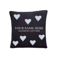 Personalised small cushion, hearts, black linen, hand-embroidered