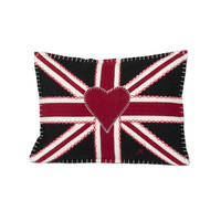 Small Union Jack black cushion, wool, hand-embroidered
