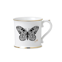 Butterfly china mug, gold edges