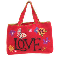 Floral Love Bag, hand-embroidered, red
