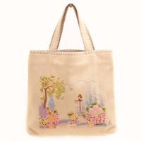 Cottage Garden Bag, cream, hand-embroidered