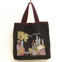 Cottage Garden Bag, hand-embroidered, black