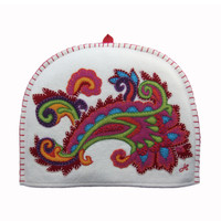 Gypsy Paisley tea cosy, cream wool, multi-coloured