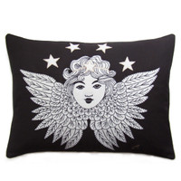 Guardian Angel designer cushion, hand-embroidered, linen and wool, black and cream