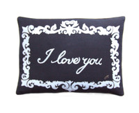 I Love You designer cushion, black and cream, linen and wool, hand-embroidered