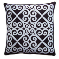 The Fretwork Heart designer cushion, hand-embroidered, black and cream, linen and wool