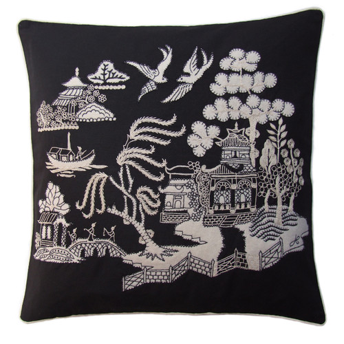 China black and cream willow pattern cushion, hand-embroidered, linen