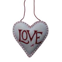 Cream love designer lavender heart, wool, hand-embroidered