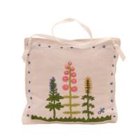 Designer cottage garden lavender bag, white linen, hand-embroidered