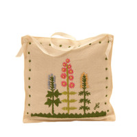Cottage garden cream lavender bag, linen, hand-embroidered
