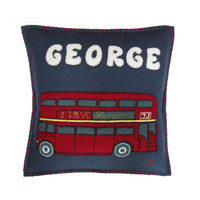 Designer Personalised London Bus Cushion – a high quality hand-embroidered cushion we can personalise with the name or the word of your choice