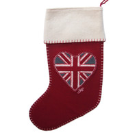 Union Jack heart Christmas stocking, red, wool