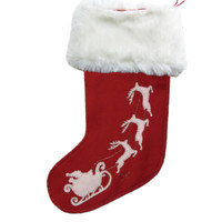 Designer Santa's sleigh Christmas stocking, hand-embroidered, cream and red wool, fur cuff