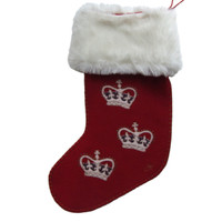 Designer crown Christmas stocking, hand-embroidered, fur cuff, red and cream wool
