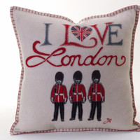 I Love London guards cushion, hand-embroidered, cream wool