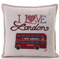 I Love London bus cushion, cream and red wool