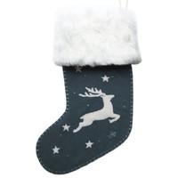 Nordic Grey Reindeer Stocking