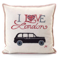 I Love London taxi cushion, cream wool