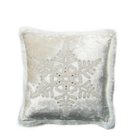 Winter White Velvet Fretwork Snowflake Cushion
