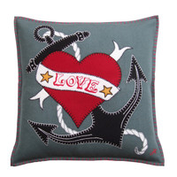 Grey Love Anchor tattoo Cushion. Luxury hand-embroidered wool cushion.