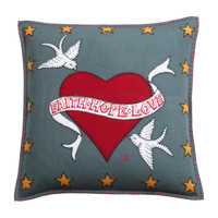 Faith Hope Love Tattoo Cushion (Grey)