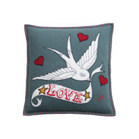 Luxury Love Bird Tattoo Cushion. Hand-embroidered grey & cream mini wool cushion.