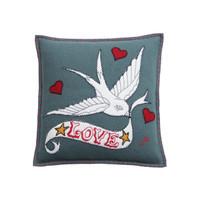 Love Bird Tattoo Cushion (Grey)