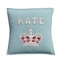 Personalised Crown Cushion Duck Egg Blue (up to 8 letters)