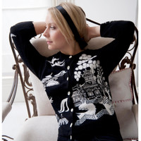 Willow Pattern Cashmere Cardigan