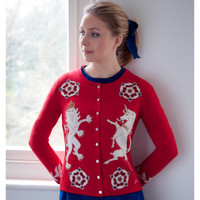 Lion and Unicorn Cashmere Cardigan (Red)