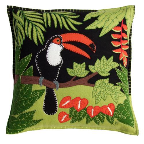 Designer Tropical Toucan, Bird cushion. Luxury hand made black, cream, green and  orange cushion