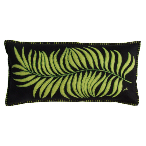 Designer tropical long palm cushion. Light green and black wool hand embroidered designer oblong cushion.