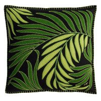Designer hand embroidered palm cushion. Black, light and dark green tropical leaves.