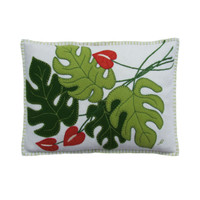 Cheese plant cushion, tropical green, cream and orange