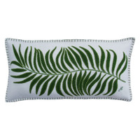 Long green palm cushion, cream wool, hand embroidered.