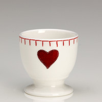 Red hearts egg cup, bone china