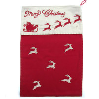 Christmas Santa Sack with Flying Reindeers (Red & Gold)