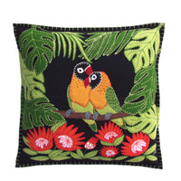.Tropical Love Birds Cushion (Black)