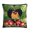 Hand embroidered tropical Lovebird cushions.  Green leaves, orange exotic flowers and hand embroidered Lovebirds